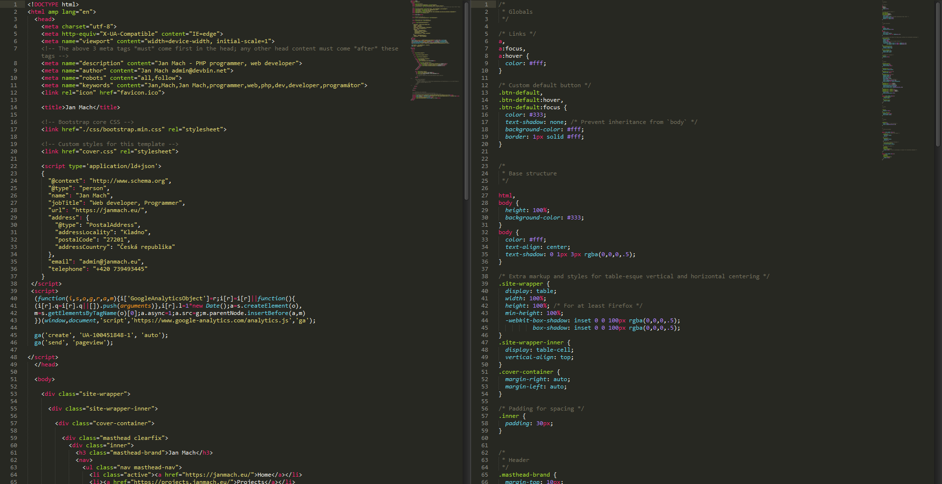 blurred html code of this page in sublime text 3.